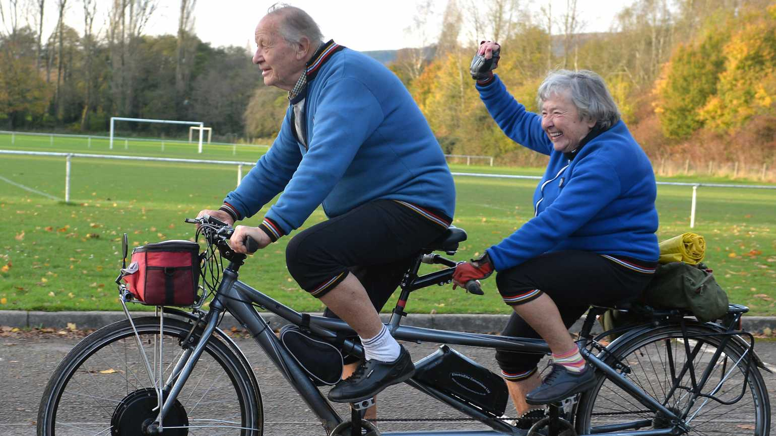 """Britain's oldest tandem riders are still hopping on their """"bicycle made for two"""" - with a combined grand old age of 177."""