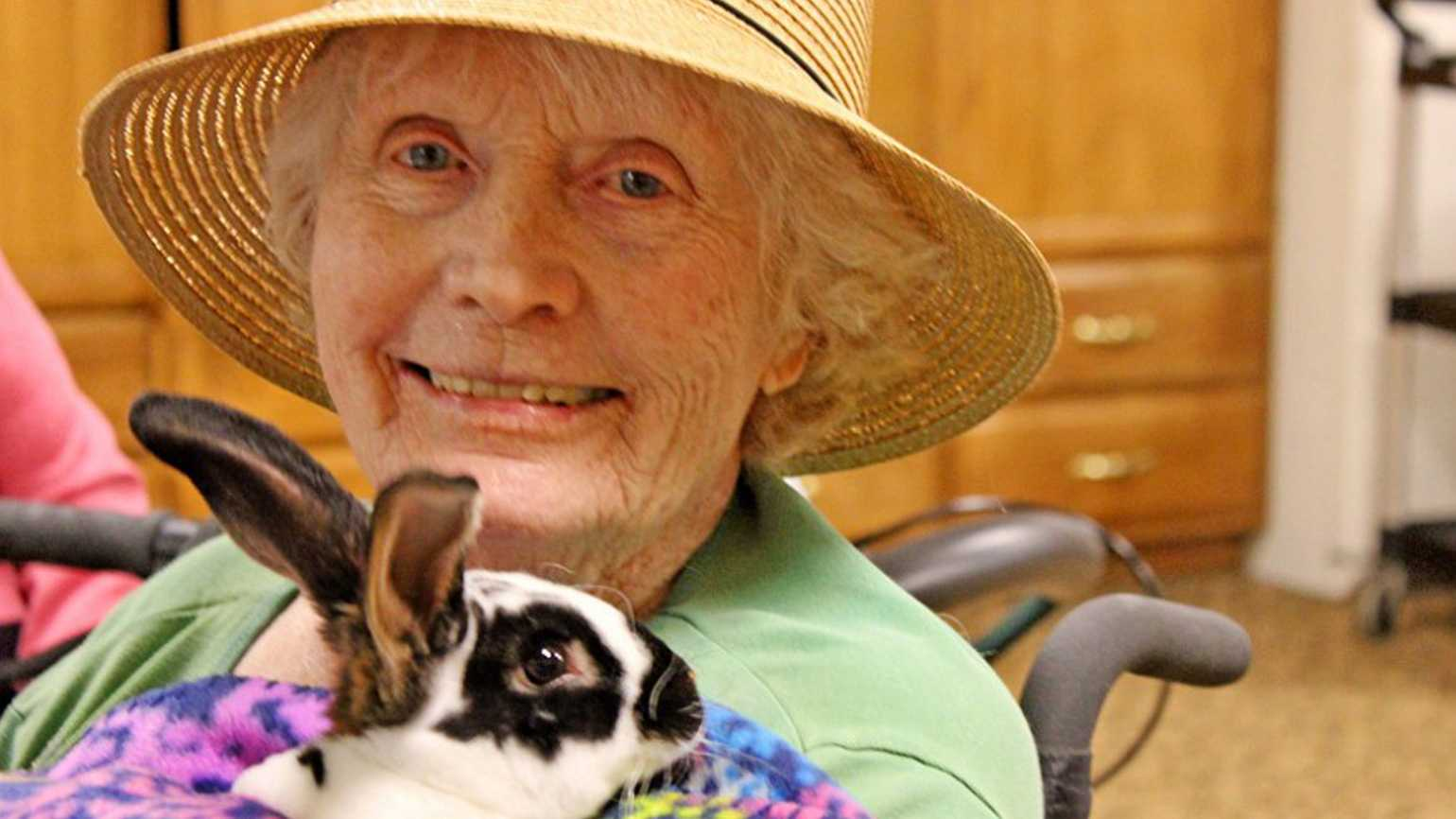 June Floyd has a special relationship with the rabbit — appropriately named Thumper — that makes her home in the senior living location in Fort Collins, Colorado, where June lives. Thumper's favorite lunch? Salad bar, of course.