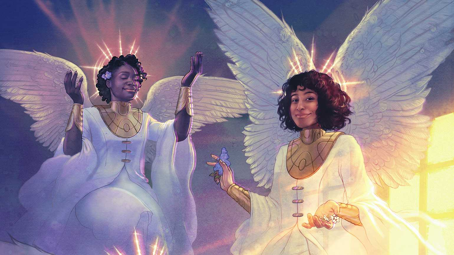 A pair of African American angels