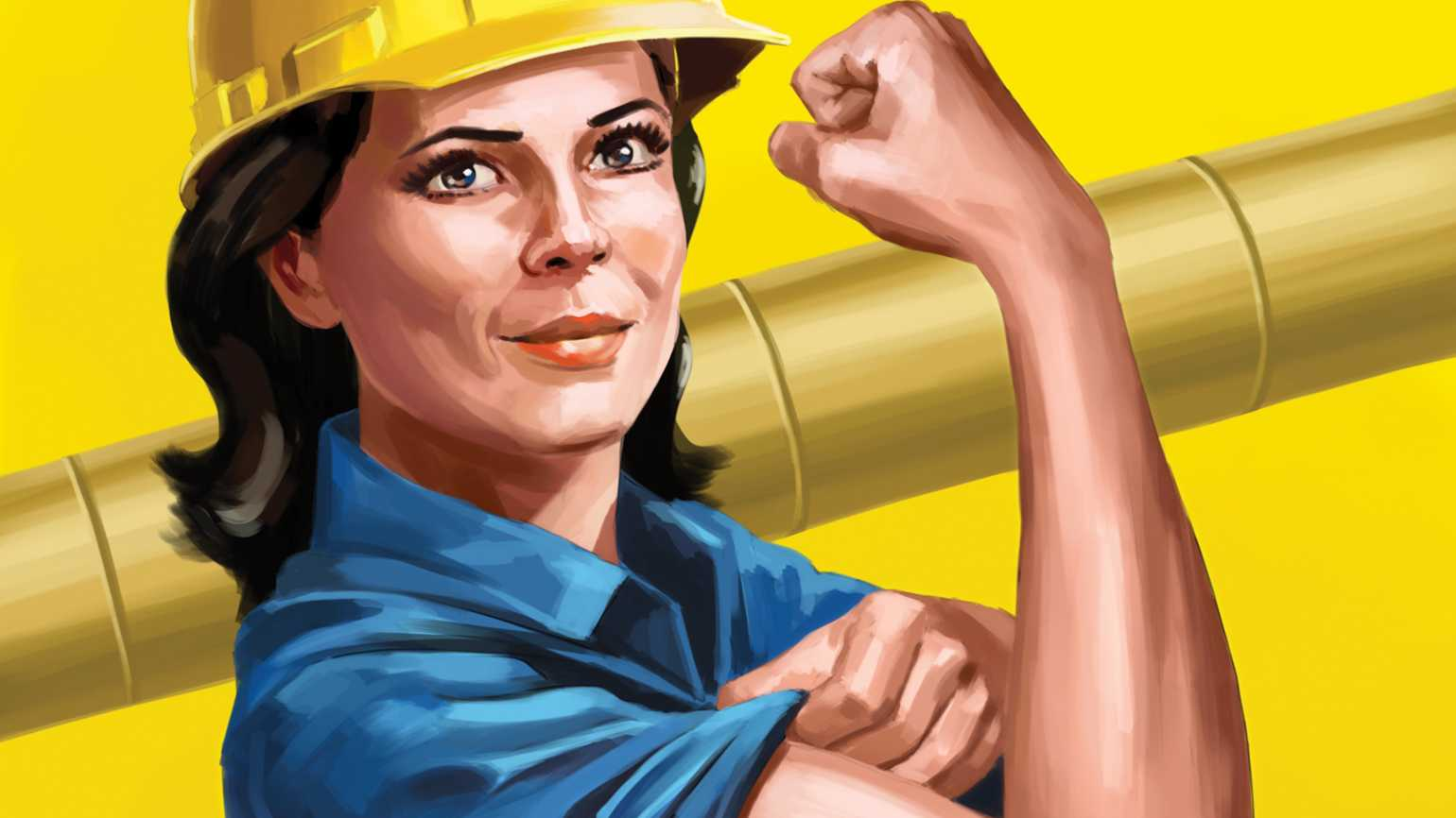 An illustration depicting Lou Dean as 'Rosie the Riveter'