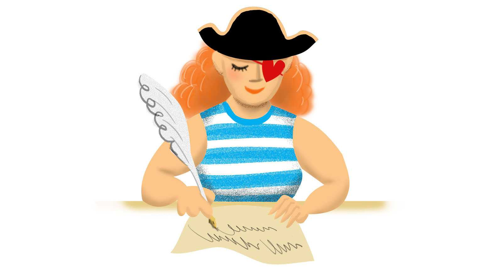 An artist' rendering of a young woman with a pirate hat writing a letter.