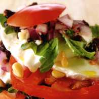 Salad recipes: Tomato Stack with Pine Nuts and Mozzarella