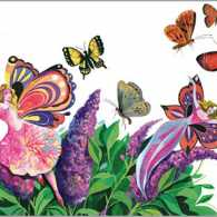 An artist's rendering of a butterfly bush