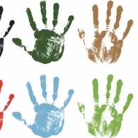 multicolored images of handprints we are all God's handprints, made in his image