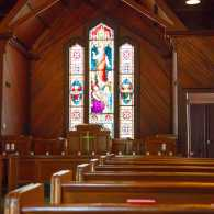 An old wooden church sanctuary
