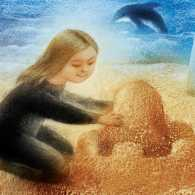 An artist's rendering of a young girl building a sand castle at the beach