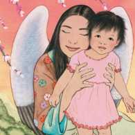 An artist's rendering of a Chinese angel embracing a young Chinese girl