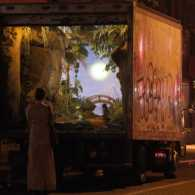 Street artist Banksy's mobile garden in the back of a delivery truck in New York