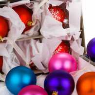 Tumbling Christmas balls. Photo by David Hughes, Thinkstock.