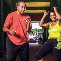 Edwidge and her husband, Thomas, getting their Zumba on