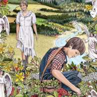 An artist's rendering of Douglas and Mamaw out foraging for healing plants
