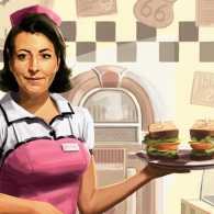 An artist's rendering of a diner waitress