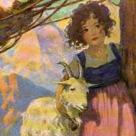 Artist's rendering of Heidi with a goat