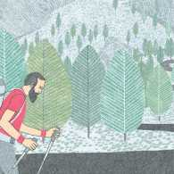 An artist's rendering of a bearded man walking a mountain road.
