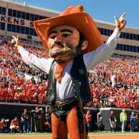 Jason Hynson, on the field in his Pistol Pete costume during a game