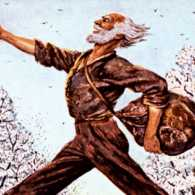 An artist's rendering of Johnny Appleseed