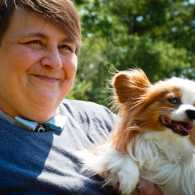 Karen Shirk and her service dog, Piper, who is a Papillon. Photo by Jessica Noll