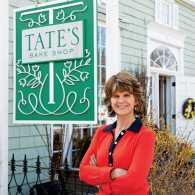 Kathleen King in front of Tates Bake Shop
