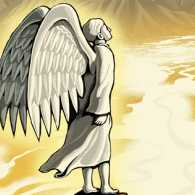 An artist's rendering of a guardian angel in the desert