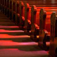 Empty church pews. Photo by Michael Warwick, Shutterstock.