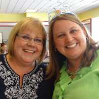 Michelle Cox, left, and her friend Carol Hatcher in tiara!