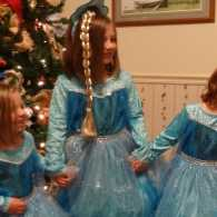 Michelle's granddaughters in their sparkly princess dresses.