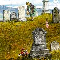 An artist's rendering of Pauline in the cemetary
