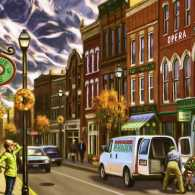 An artist's rendering of Silver Peak's Main Street