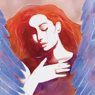 An artist's rendering of a grieving woman surrounded by angels' wings