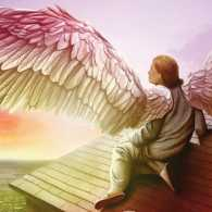An artist's rendering of an angel on the rooftop of a house