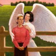 An artist's rendering of Pauling being embraced by an angel