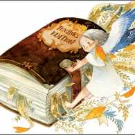 An artist's rendering of a tiny angel locking closed a teacher's textbook