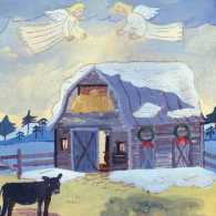 An artist's rendering of a barn with Christmas wreaths on it and angels above it