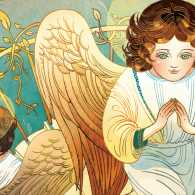 An artist's rendering of Helen's vision of angels on a staircase