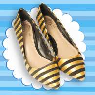 Glammed up shoes with gold stripes