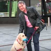 Edward Grinnan and Gracie outside the Good Morning America studios
