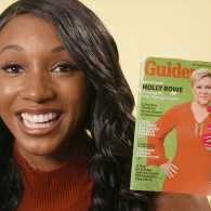 ESPN's Maria Taylor holds up a Guideposts magazine with Holly Rowe on the cover