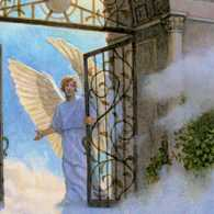 Angel at the gate of heaven