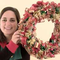 Learn how to make a Quick 'n' Crafty Christmas Ribbon Wreath.