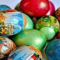 A collection of colorful painted eggs for Easter