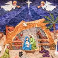 O Holy Night, based on the Advent Nativity Pattern by Paper Panache. Quilted by Ramona Sorenson, designed by Lisa Robison.