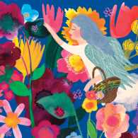 Illustration of an angel among flowers