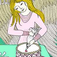 An illustration of an angel decorating a cake