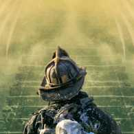 An artist's rendering of a firefighter peering up at the stairway of heaven.