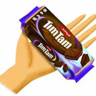 An illustration of a hand holding a package of Tim Tams, the chocolate covered cookies.