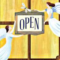 Illustration of two angels holding an open sign