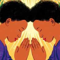 Illustration of two angels praying