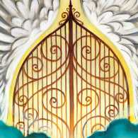 An artist's rendering of the gates of heaven.