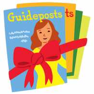 An artist's rendering of a stack of Guideposts, tied with a gift bow