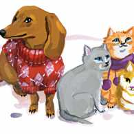 Illustration of cats and dogs dressed warmly